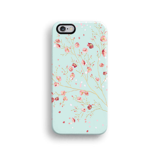Mint floral iPhone 12 case S604 - Decouart