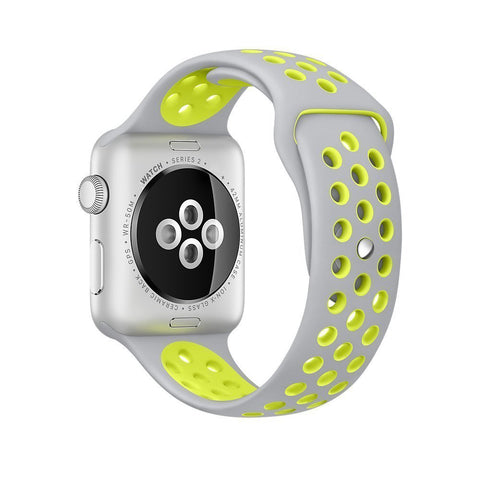 Decouart Apple watch band, Silver Yellow soft Silicone Replacement perforated Sport Band for 42mm 38mm