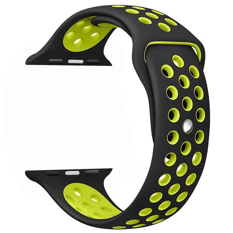 Decouart Apple watch band, Black yellow Soft Silicone Replacement perforated Sport Band for 42mm 38mm