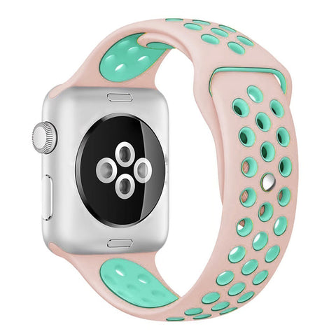 Decouart Apple watch band, Pink Green soft Silicone Replacement perforated Sport Band for 42mm 38mm
