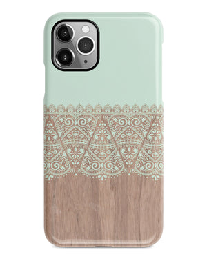 Mint lace wood iPhone 12 case S633 - Decouart