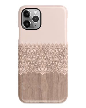 Cream lace wood iPhone 12 case S634 - Decouart