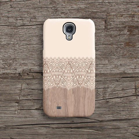 Cream lace wood iPhone case S634 - Decouart