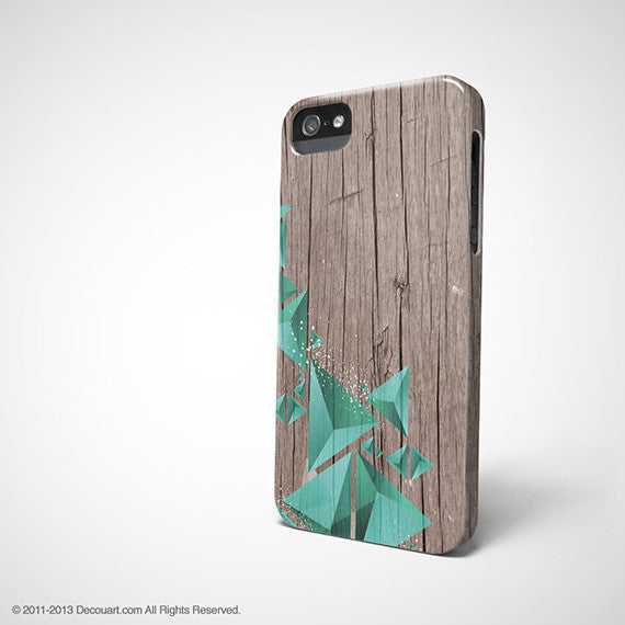 Geometric mint wood iPhone 12 case S649 - Decouart