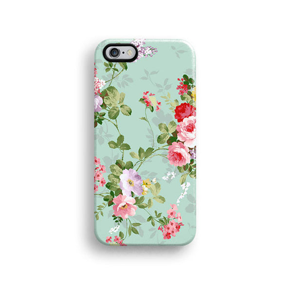 Mint floral iPhone 7 case, iPhone 7 Plus case S678 - Decouart - 1