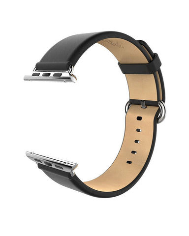 Apple watch band, Decouart genuine leather band with Metal Buckle - Black - Decouart