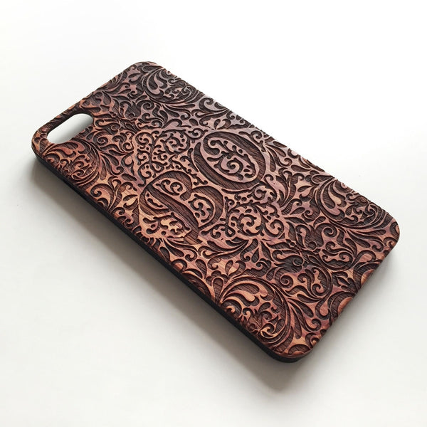 Floral monogram real wood engraved iPhone case - Decouart