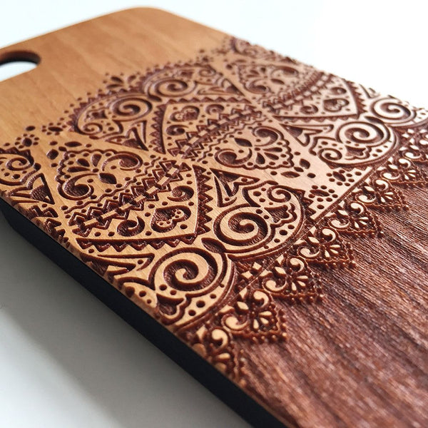 Real wood engraved floral lace pattern iPhone case S045 - Decouart - 1