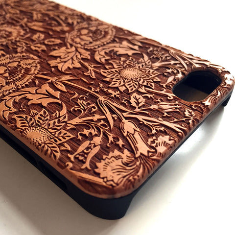 Floral real wood engraved iPhone case S005 - Decouart