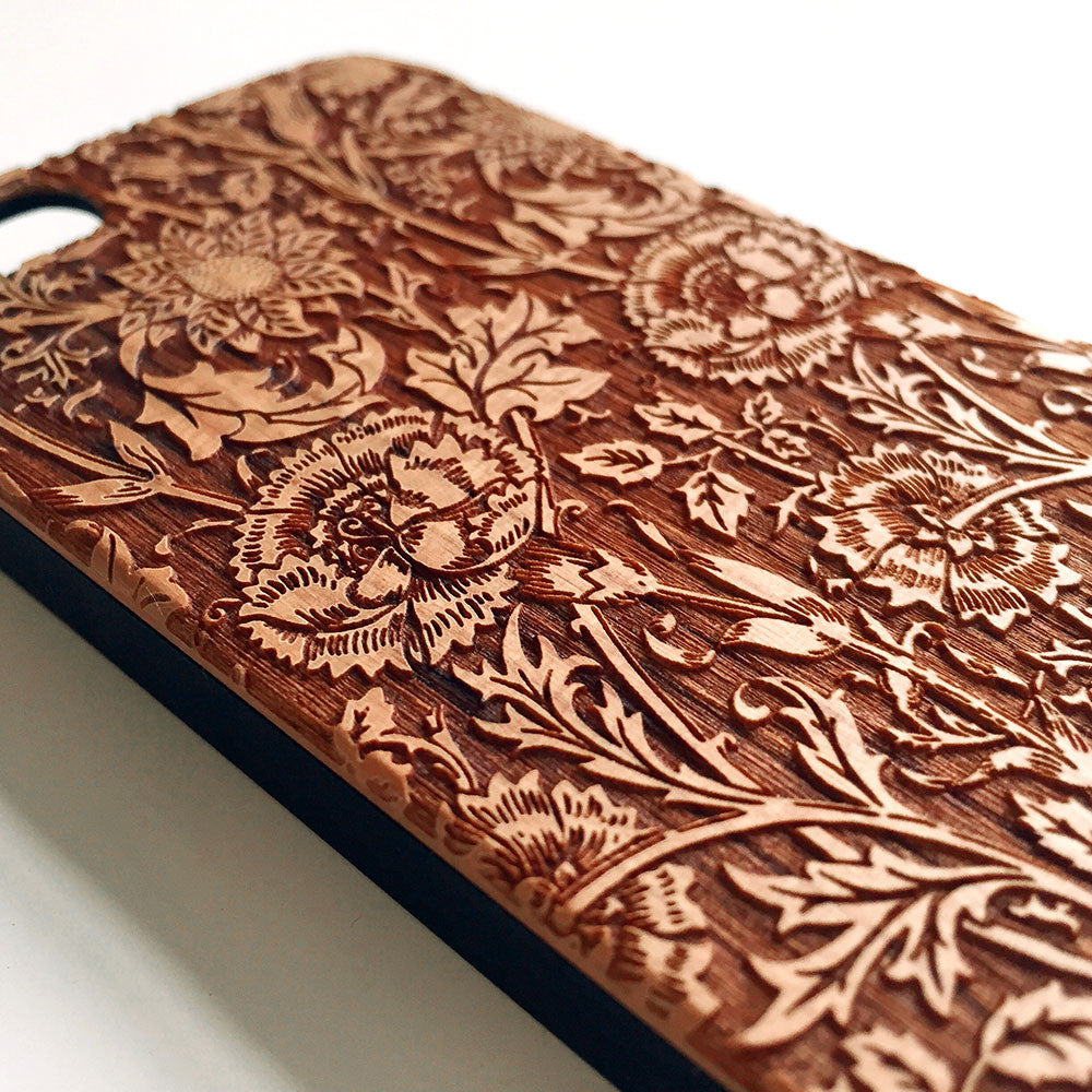 floral real wood engraved iphone case s005 decouart