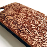 Floral real wood engraved iPhone case S005