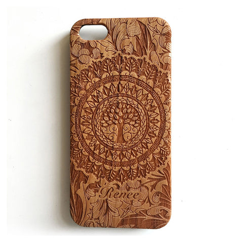 Floral tree personalised real wood engraved iPhone case - Decouart