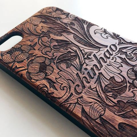 Monogram floral real wood engraved iPhone case F002 - Decouart