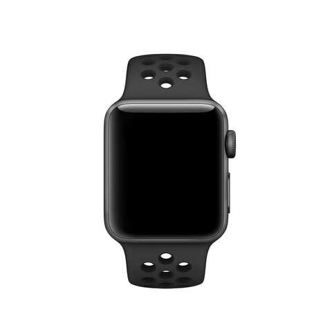 Decouart Apple watch band, Black / black Soft Silicone Replacement perforated Sport Band for 42mm 38mm