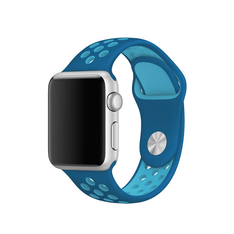 Decouart Apple watch band, Blue Soft Silicone Replacement perforated Sport Band for 42mm 38mm - Decouart