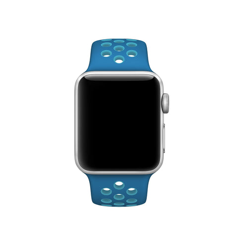 Decouart Apple watch band, Blue Soft Silicone Replacement perforated Sport Band for 42mm 38mm