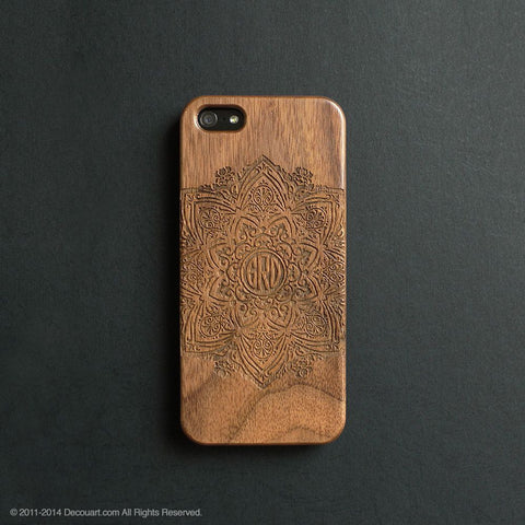 Personalised real wood engraved mandala pattern iPhone case S001 - Decouart