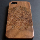 Personalised real wood engraved mandala pattern iPhone case S003 - Decouart