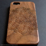 Real wood engraved geometric pattern iPhone case S009 - Decouart - 4