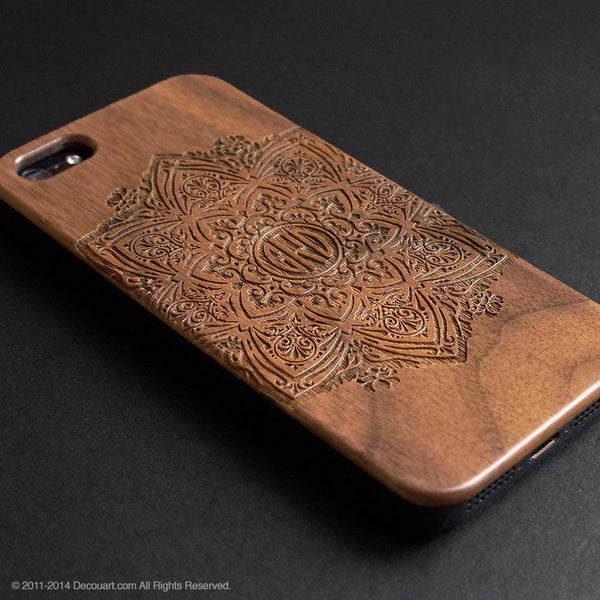 Personalised real wood engraved mandala pattern iPhone case S001 - Decouart - 1