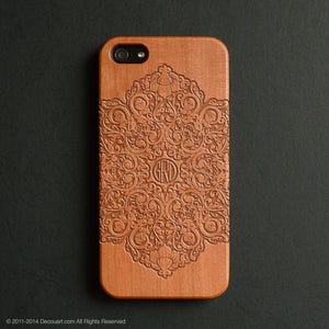 Personalised real wood engraved mandala pattern iPhone case S002 - Decouart
