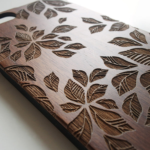 Floral real wood engraved iPhone case S041 - Decouart