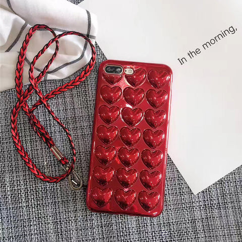 3D Red hearts iPhone case