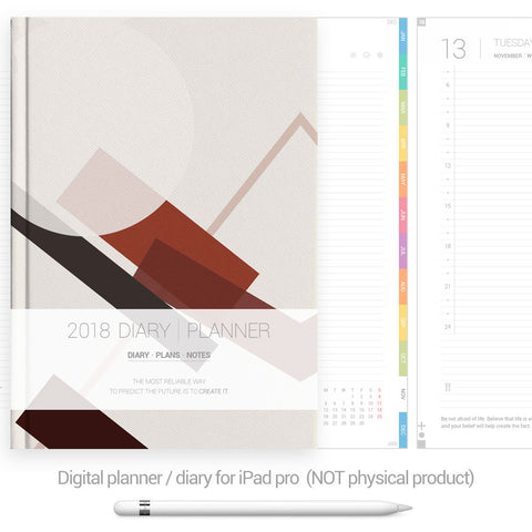 Digital Planner / Diary for GoodNotes - Colourful tabs - Abstract - Decouart