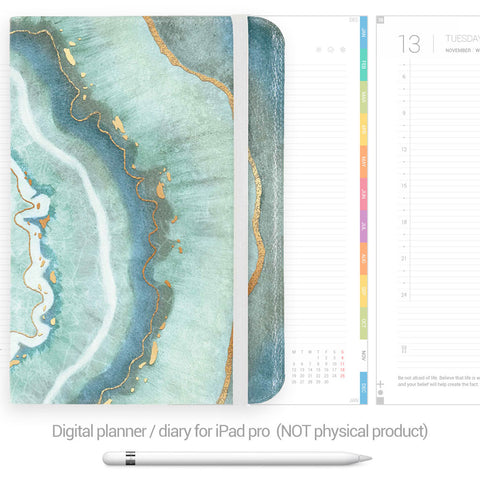 Digital Planner / Diary for GoodNotes - Colourful tabs - Agate - Decouart
