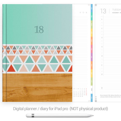 Digital Planner / Diary for GoodNotes - Colourful tabs - Aztec - Decouart