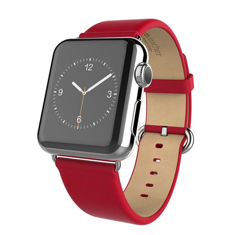 Apple watch band, Decouart genuine leather band with Metal Buckle - Red - Decouart