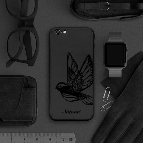 Bird full protection iPhone 7 plus black case 038 |【360°全面保護強化ガラスフィルム付き】iPhone 7 / 7+ / SE / 6s / 6s+ /5s ケース 038 - Decouart