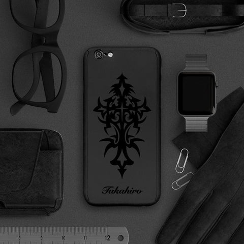 Cross full protection iPhone 7 plus black case 056 |【360°全面保護強化ガラスフィルム付き】iPhone 7 / 7+ / SE / 6s / 6s+ /5s ケース 056 - Decouart