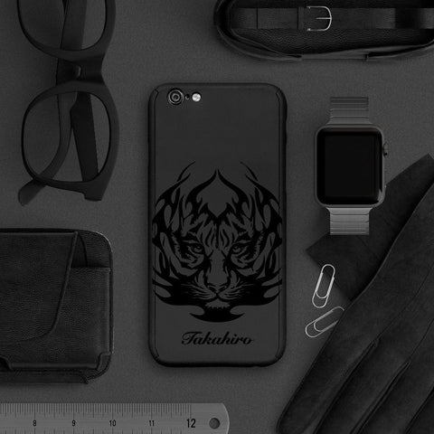 Tiger full protection iPhone 7 plus black case 057 |【360°全面保護強化ガラスフィルム付き】iPhone 7 / 7+ / SE / 6s / 6s+ /5s ケース 057 - Decouart