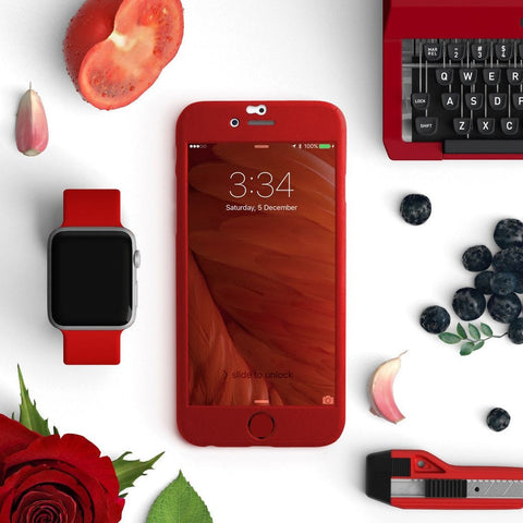 Full protection iPhone 7 / 7 Plus red case | 【360°全面保護強化ガラスフィルム付き】iPhone 7 / 7+ / SE / 6s / 6s+ /5s ケース (絵柄無) - Decouart