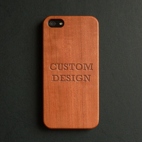 Custom design wood engraved iPhone case - Decouart