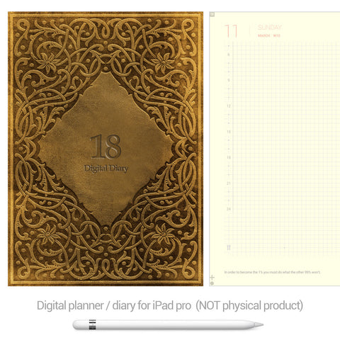 Digital Planner / Diary for GoodNotes - Yellow background - Gold - Decouart