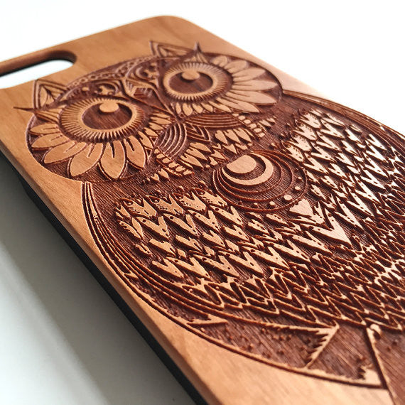 low cost 6f93f 4ebaa Real wood engraved owl iPhone case S051 Real wood engraved owl iPhone case  S051