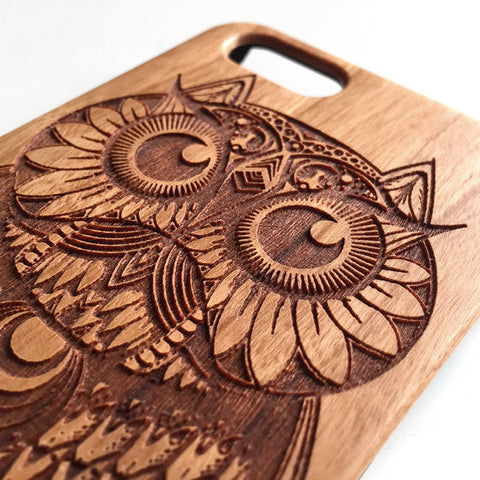 Real wood engraved owl iPhone case S051 - Decouart