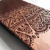 Real wood engraved floral lace pattern iPhone case S045 - Decouart - 4