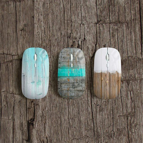 Wood print wireless mouse - Decouart