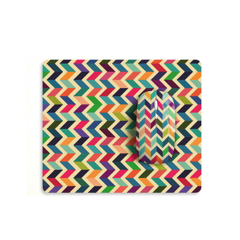 Colourful chevron mouse with matching mouse pad M007 - Decouart