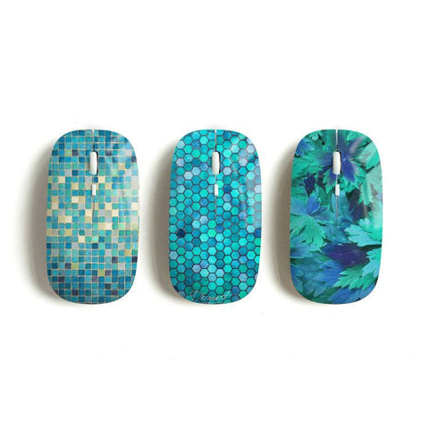 Mint wireless mouse, mosaic, hexagon, floral - Decouart - 1