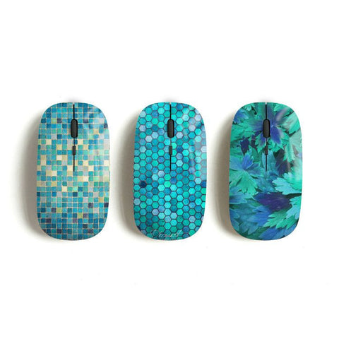 Mint wireless mouse, mosaic, hexagon, floral - Decouart