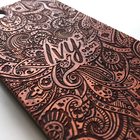 Personalised paisley floral real wood engraved iPhone case - Decouart - 1