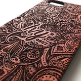 Personalised paisley floral real wood engraved iPhone case - Decouart