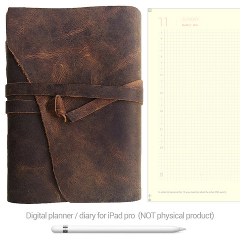 Digital Planner / Diary for GoodNotes - Yellow background - Leather - Decouart