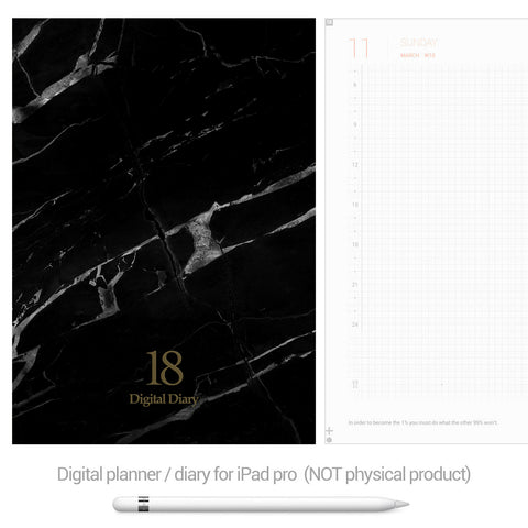 Digital Planner / Diary for GoodNotes - Black marble - Decouart