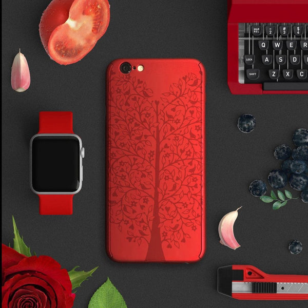 Tree full protection iPhone 7 plus red case 033 | 【360°全面保護強化ガラスフィルム付き】iPhone 7 / 7+ / SE / 6s / 6s+ /5s ケース 赤 033 - Decouart