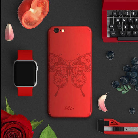 Butterfly full protection iPhone 7 plus red case 034 | 【360°全面保護強化ガラスフィルム付き】iPhone 7 / 7+ / SE / 6s / 6s+ /5s ケース 赤 034 - Decouart